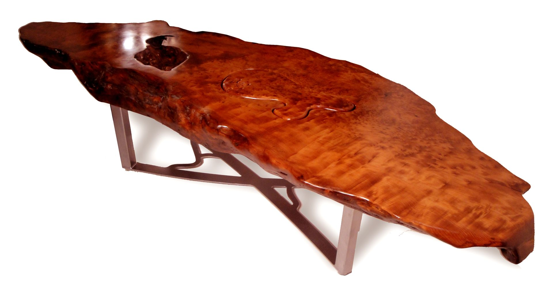Custom Made Redwood Burl Coffee Table by Scott Dworkin Designs