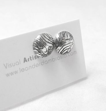 Custom Made Textured Stud Post Earrings - Etched Studs - Medium Stud Post Earrings - Unique Texture Earrings
