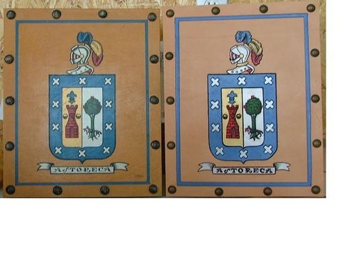 Custom Made Leather Coat Of Arms Wall Hanging