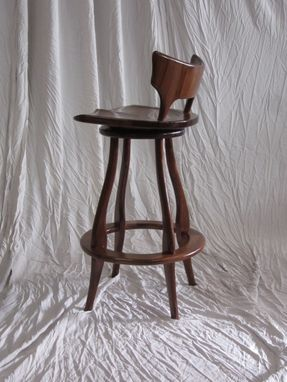 Custom Made Black Walnut Bar Stool With Swivel And Back