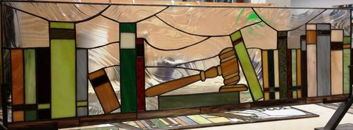 "Custom Made Set Of Stained Glass Windows -   ""Law Office"" (W-120)"