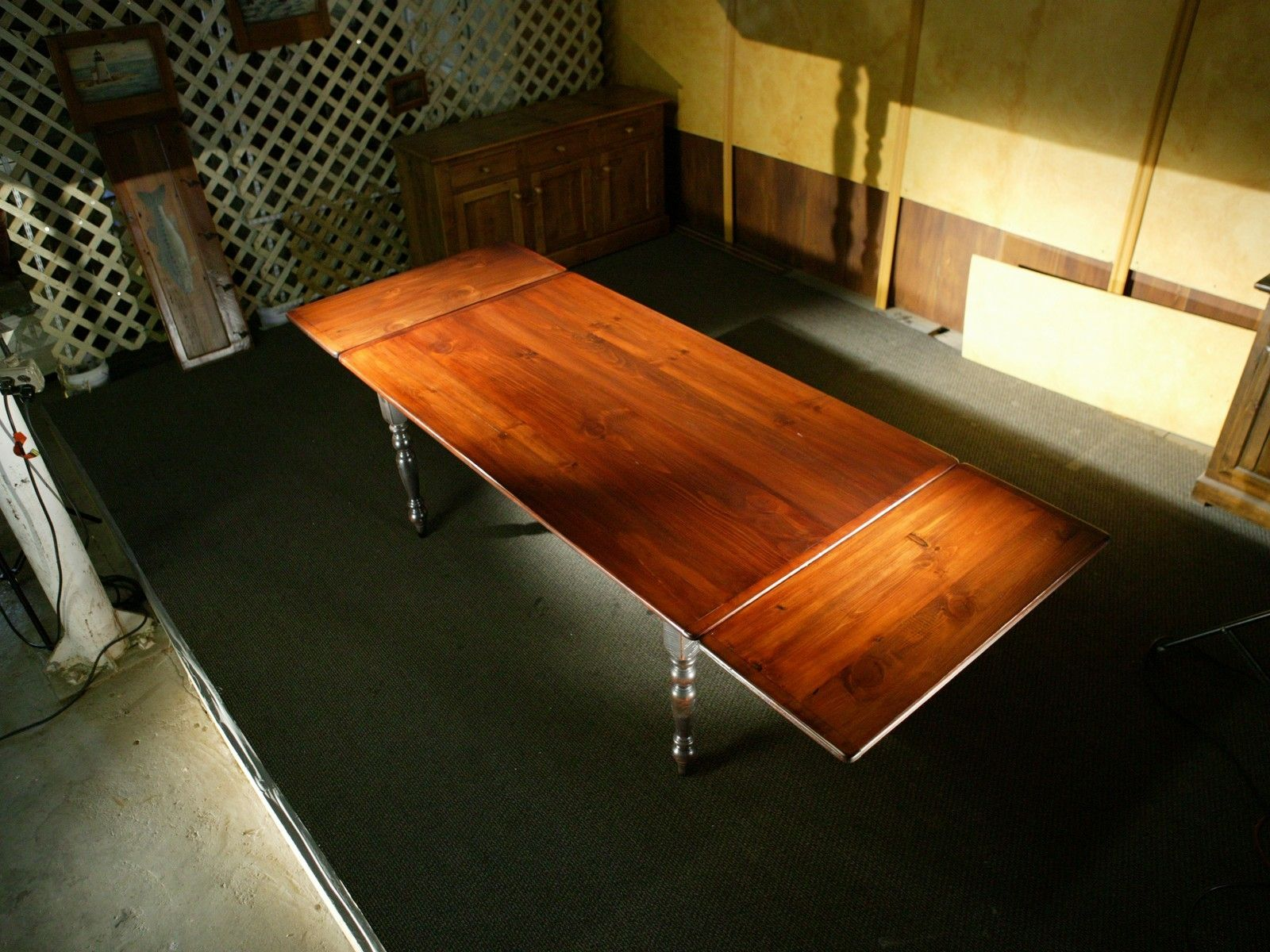 Hand Made Farm Tables With Extensions And Brown Cherry Top by