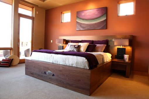 Custom Made Modern Black Walnut Bed With Headboard