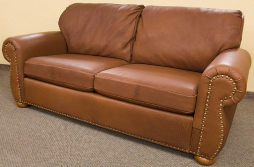 Custom Made Bison Leather Tobacco Sofa