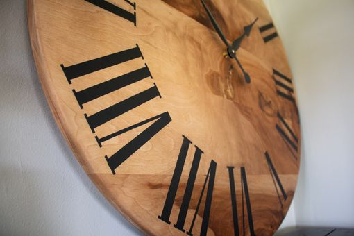 Custom Made Large Wall Clock, Sycamore Hardwood, Handmade