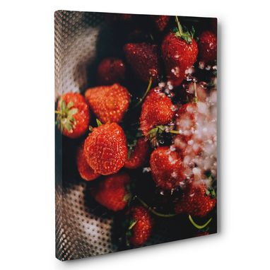 Custom Made Fresh Strawberries Photography Canvas Wall Art