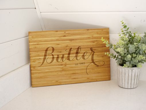 Custom Made Personalized Engraved Cutting Board In Cursive - 003