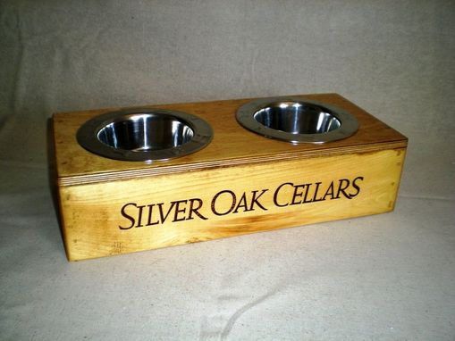 Custom Made Wine Crate Pet Bowl- Silver Oak Cellars