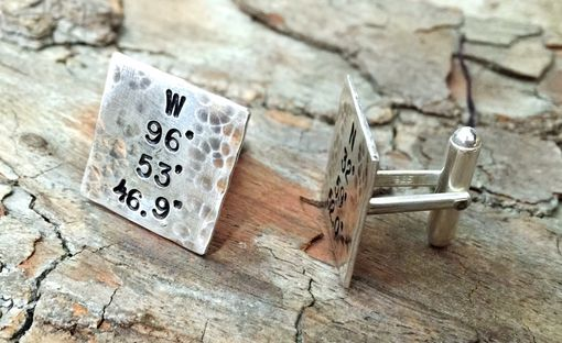 Custom Made Rustic Coordinates Cuff Links