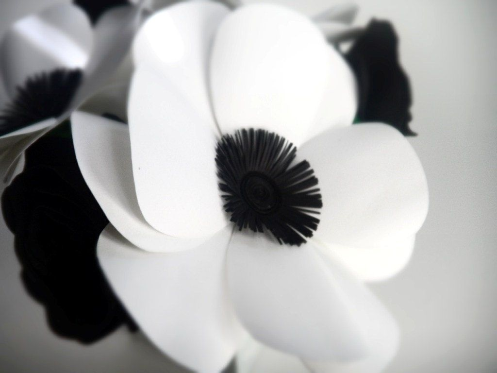 Hand Crafted Black And White Anemones And Roses Paper Flower Bouquet