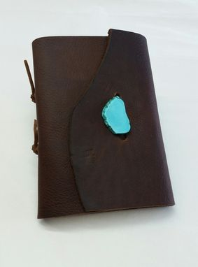 Custom Made Rustic Brown Leather Journal With Turquoise, Refillable Leather Journal,