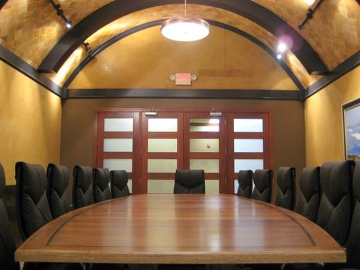 Custom Made 15 Foot Hickory And Steel Conference Table
