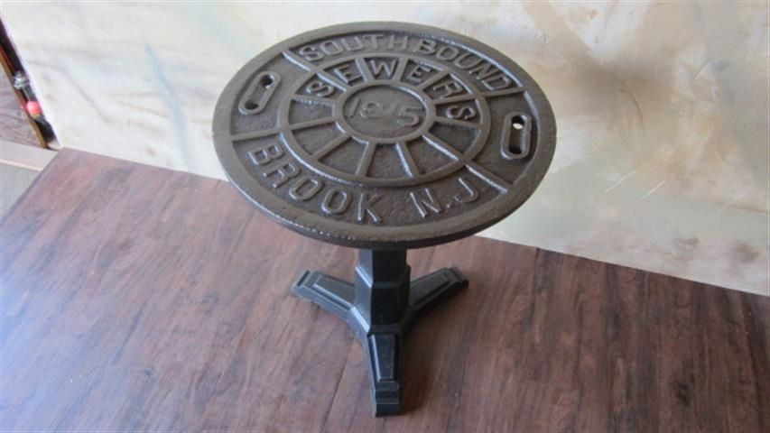 Custom Bistro Manhole Cover Table By Wild Edge Designs