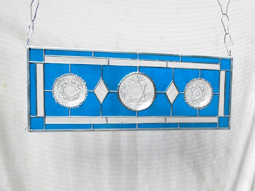 Custom Made Vintage Stained Glass Transom Window, Depression Glass Stained Glass Panel