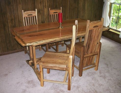 Custom Made Spalted Sycamore Table & Chairs