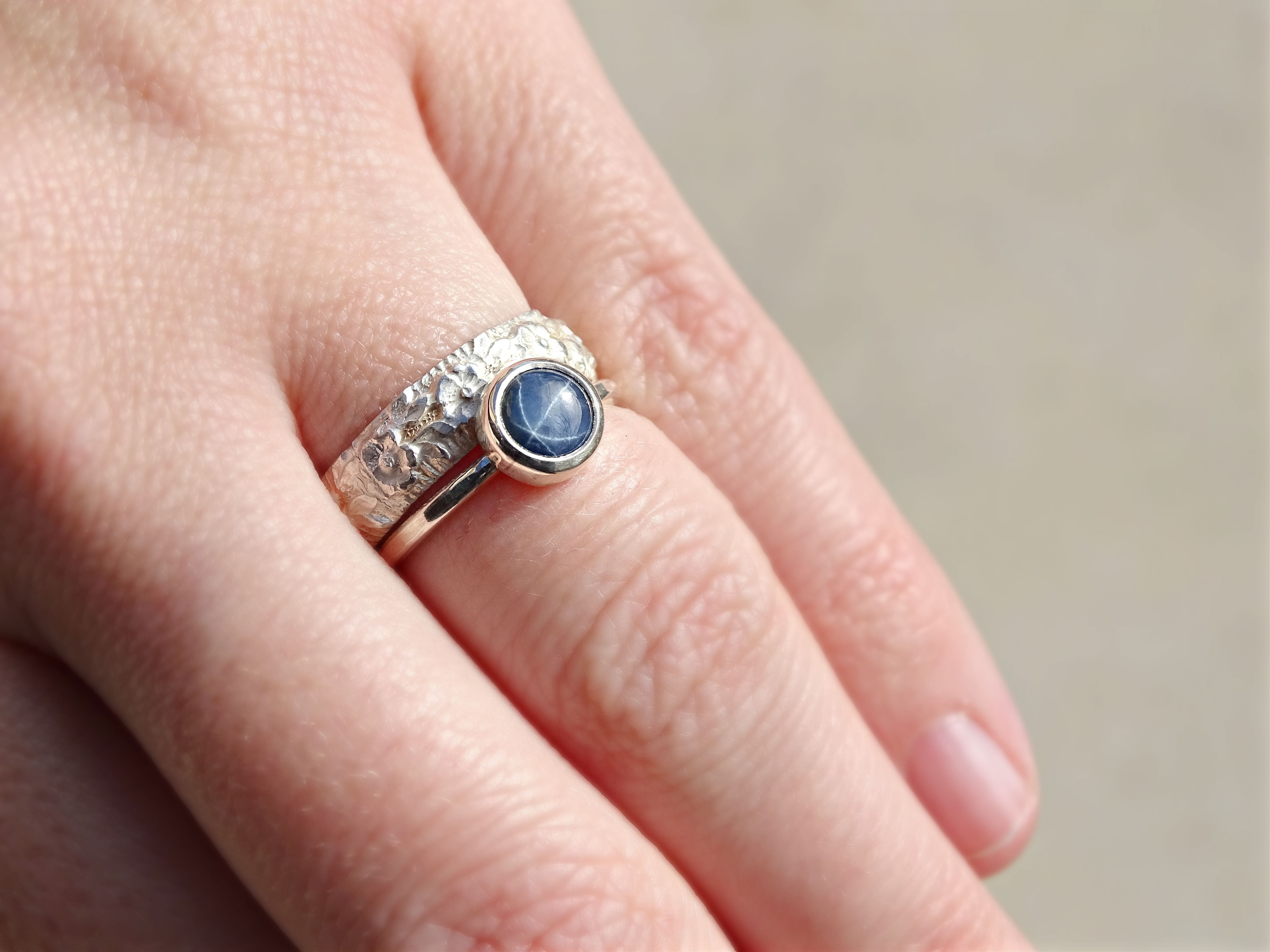 Buy a Hand Made Blue Star Sapphire Ring, Sapphire Wedding Ring ...