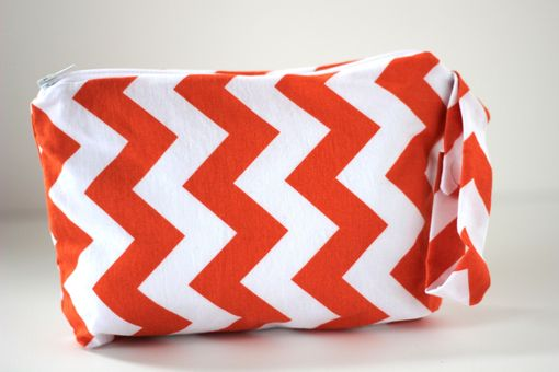 Custom Made Large Gusseted Messy Bags (Snack Bags) - Orange Chevron