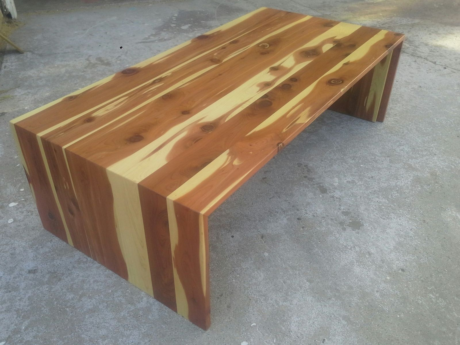 Custom Cedar Waterfall Coffee Table By TPT CAL CustomMadecom