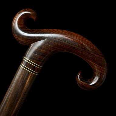 Custom Made Handmade Walking Cane In Rosewood And Ebony With Brass - Walking Stick