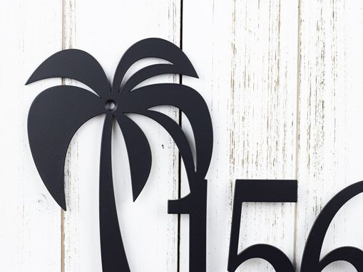 Custom Made Metal House Number Sign, Palm Trees - Matte Black Shown
