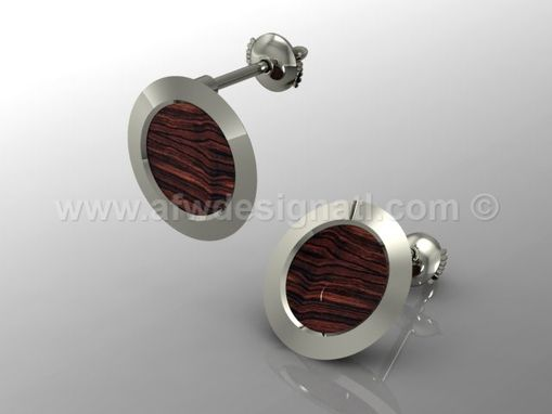 Custom Made Wood And Fine Metal Earrings No.14