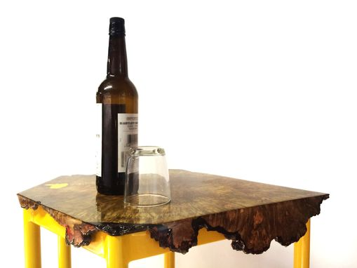 Custom Made Live Edge Maple Burl End Table