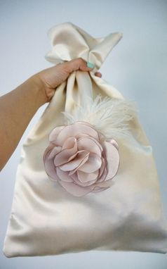 Custom Made Handmade Satin Wedding Money Bag With Carnation Flower And Feathers