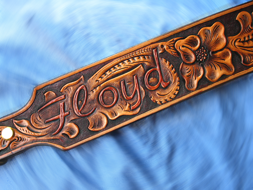 Custom Made Dog Collar Hand Tooled, Hand Carved, Old West Sheridan Classique.