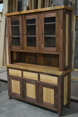 Custom Made Walnut And Sycamore Hutch / Cupboard