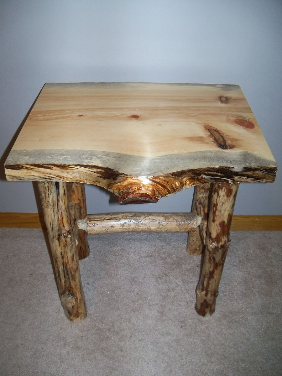 Custom Made Log End Table And Coffee Table