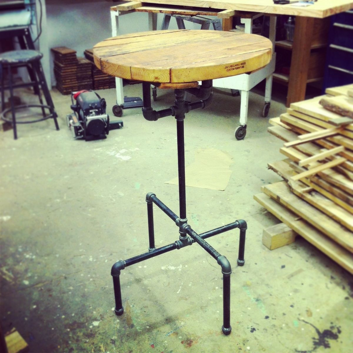 Hand Made Industrial Cast Iron Pipe Cafe Bar Table By J S Reclaimed Wood Custom Furniture