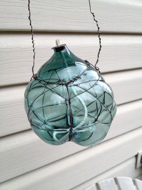 Custom Made Organic Blown Glass And Copper Oil Lamp