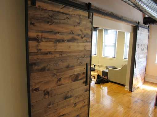 Custom Made Industrial Reclaimed Barn Doors On Steel Track