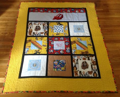 Custom Made Dazzling Wizard Of Oz Quilt With Hand Applied Sequin Ruby Slippers And Appliqués