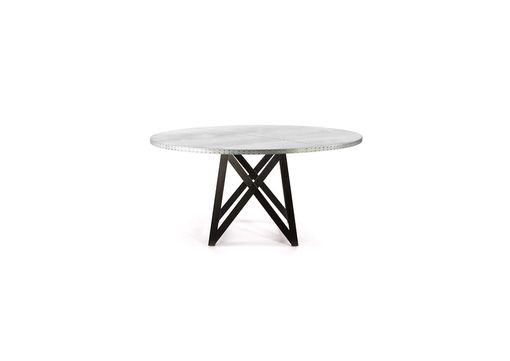 Custom Made Zinc Table  Zinc Dining Table - The Uptown Round Zinc Top Table By Kingston Krafts
