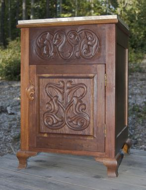 Custom Made Bathroom Vanity - Honduras Mahogany - Hand Carved