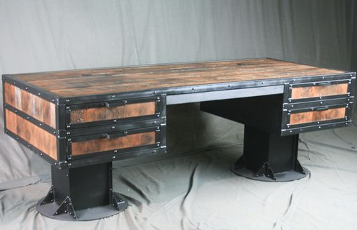 Custom Made Vintage Industrial Wooden Desk With Drawers - Reclaimed Wood Desk - Urban Style Desk