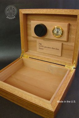 Custom Made Handcrafted Humidor Of Fiddleback Maple And Rosewood.