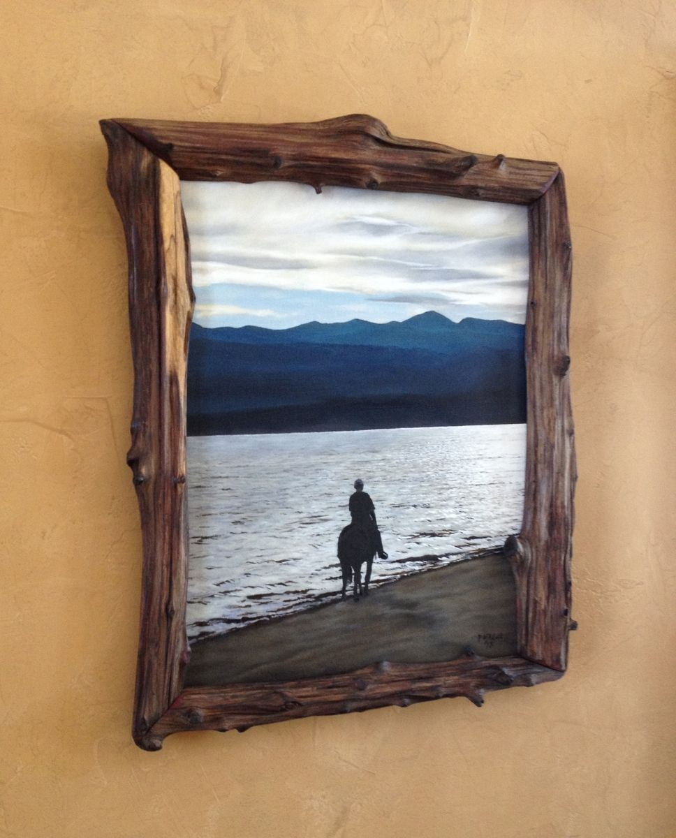 custom made natural edge frames created from driftwood hollow logs - Driftwood Picture Frame