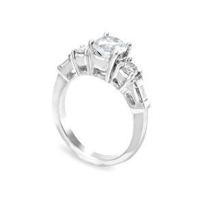 Custom Made Baguette And Round Diamond Engagement Ring In 14k White Gold, Proposal Ring, Wedding Ring