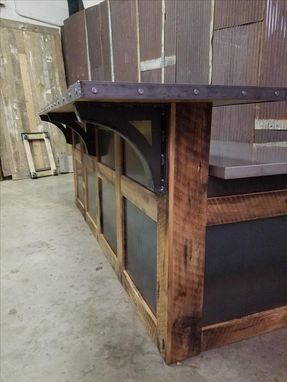 Hand Made Reclaimed Barnwood And Steel Reception Desk By