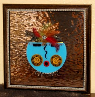 Custom Made Fused Glass Wall Art - Tribal Mask