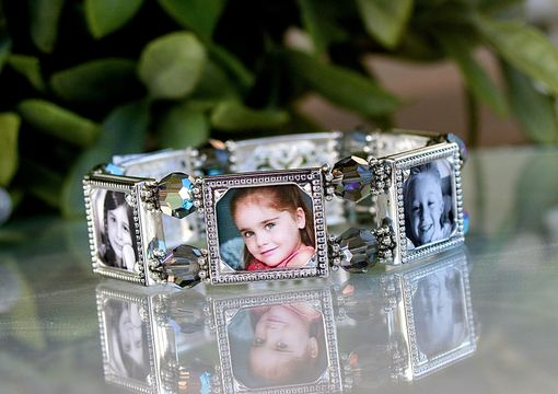 Custom Made Six-Frame Photo Bracelet With Swarovski And Black Diamond Crystals