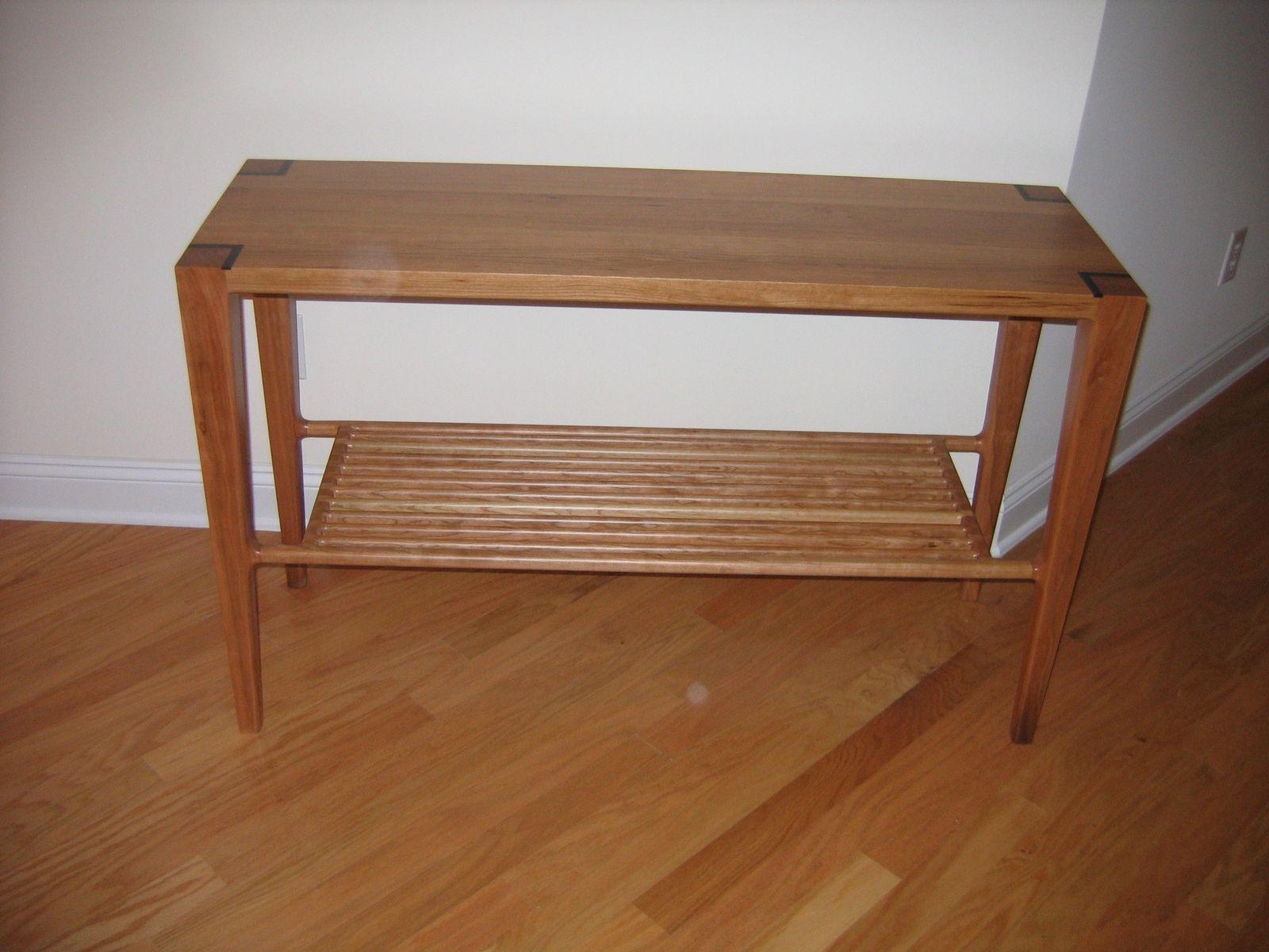 Handmade Cherry Hallway Table With Slat Shelf by David Naso