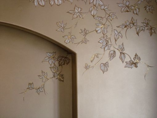 Custom Made Chinoiserie Grapes Mural On Champagne Metallic Faux By Visionary Mural Co.