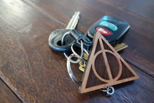 Custom Made Deathly Hallows Harry Potter Wooden Keychain