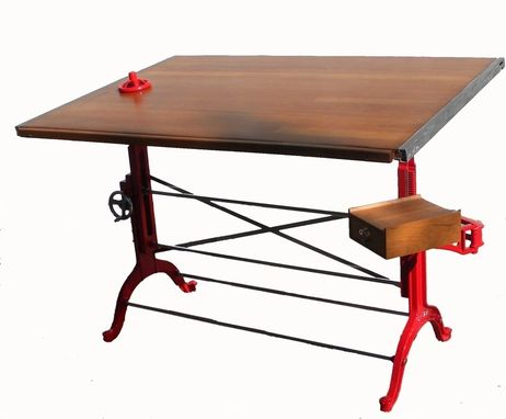 Custom Made Custom Red And Polished Steel Antique Wood Drafting Table