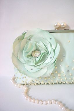 Custom Made Seafoam Green Clutch Purse With Swarovski Crystal Beads