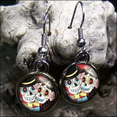 Custom Made Day Of The Dead Bride & Groom Gunmetal Black Earrings 68-Gmse