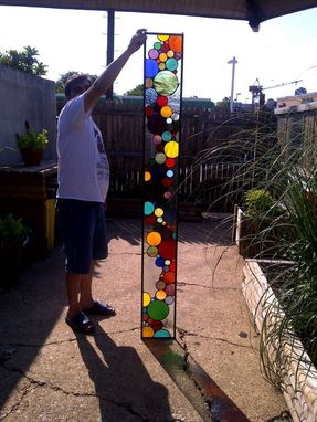 Custom Made Stained Glass Window Panel / Contemporary Bubble Sidelight (S-3)